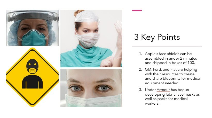 """Apple has made over one million face shields a week for medical staff."""